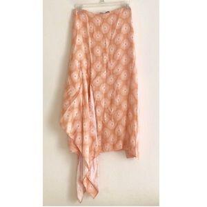 DVF Peach Embroidered Drape Midi Skirt Side Slit